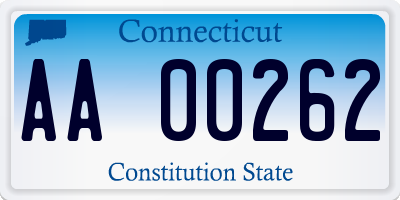 CT license plate AA00262