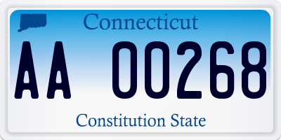 CT license plate AA00268