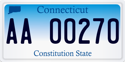 CT license plate AA00270