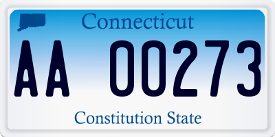 CT license plate AA00273