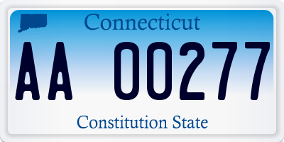 CT license plate AA00277