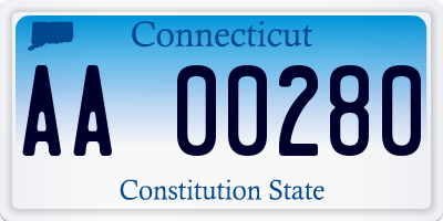 CT license plate AA00280