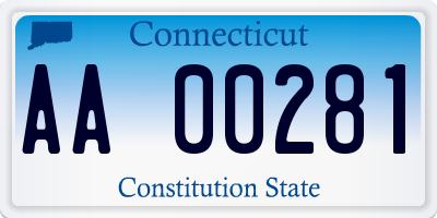 CT license plate AA00281