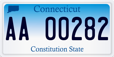CT license plate AA00282