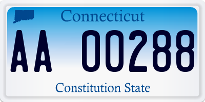 CT license plate AA00288