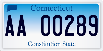 CT license plate AA00289
