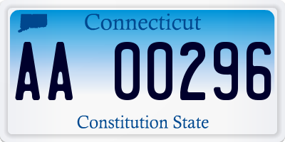 CT license plate AA00296
