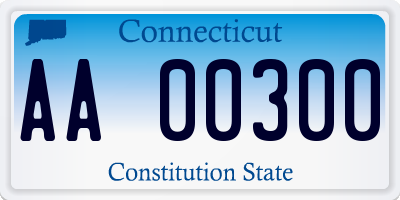CT license plate AA00300