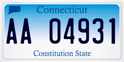 CT license plate AA04931