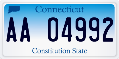 CT license plate AA04992
