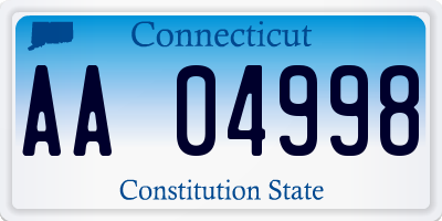 CT license plate AA04998