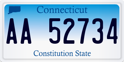 CT license plate AA52734