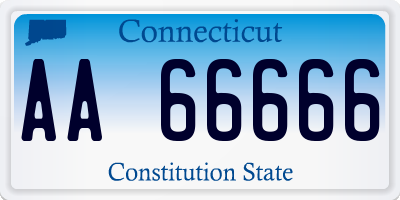 CT license plate AA66666