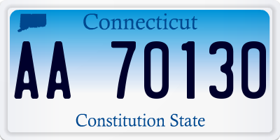 CT license plate AA70130