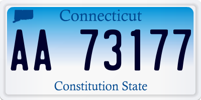 CT license plate AA73177