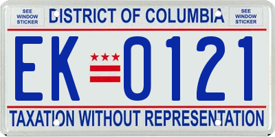 DC license plate EK0121