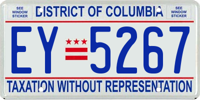 DC license plate EY5267