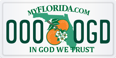FL license plate 0000GD