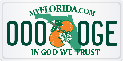 FL license plate 0000GE