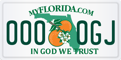 FL license plate 0000GJ