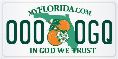 FL license plate 0000GQ