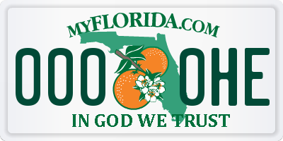 FL license plate 0000HE