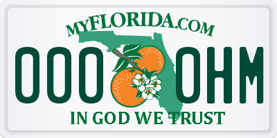 FL license plate 0000HM