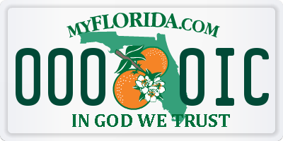 FL license plate 0000IC