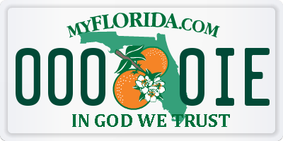 FL license plate 0000IE