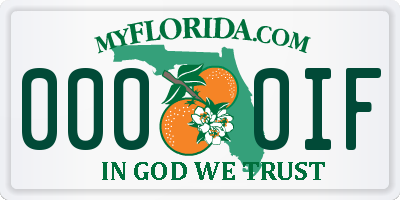 FL license plate 0000IF