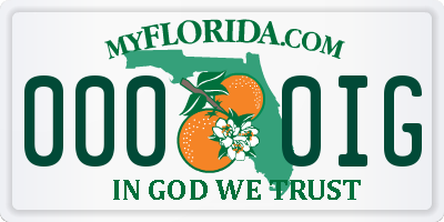 FL license plate 0000IG