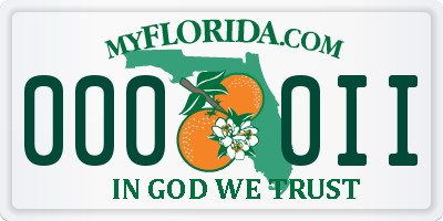 FL license plate 0000II