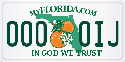 FL license plate 0000IJ