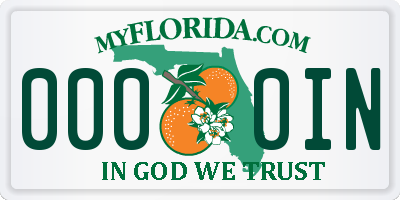 FL license plate 0000IN