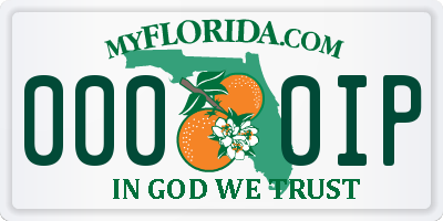 FL license plate 0000IP