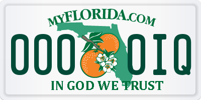 FL license plate 0000IQ