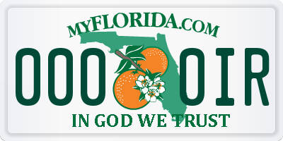 FL license plate 0000IR