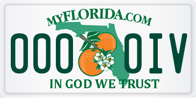 FL license plate 0000IV