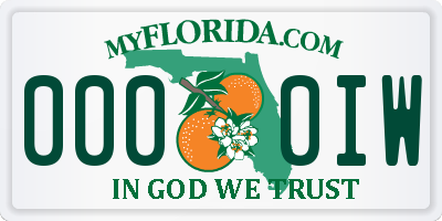 FL license plate 0000IW