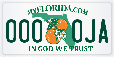 FL license plate 0000JA