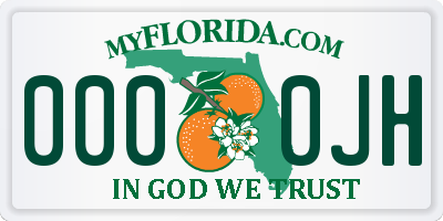 FL license plate 0000JH