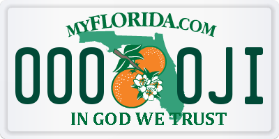 FL license plate 0000JI