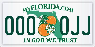 FL license plate 0000JJ