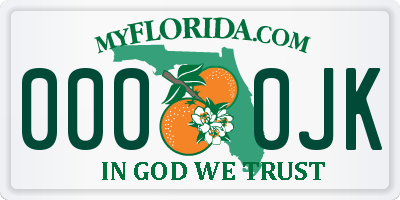 FL license plate 0000JK