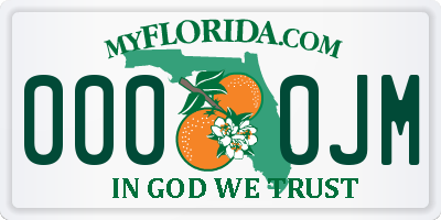 FL license plate 0000JM