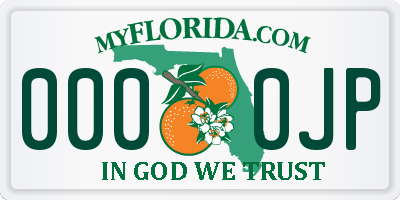 FL license plate 0000JP