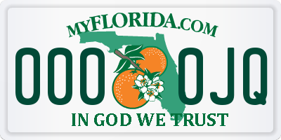 FL license plate 0000JQ