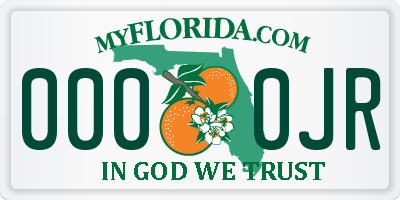 FL license plate 0000JR