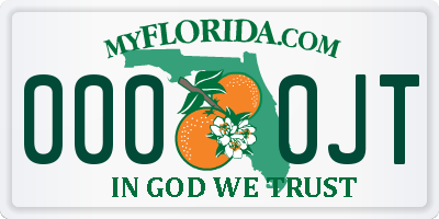 FL license plate 0000JT