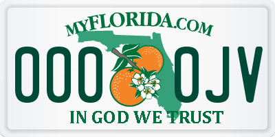 FL license plate 0000JV